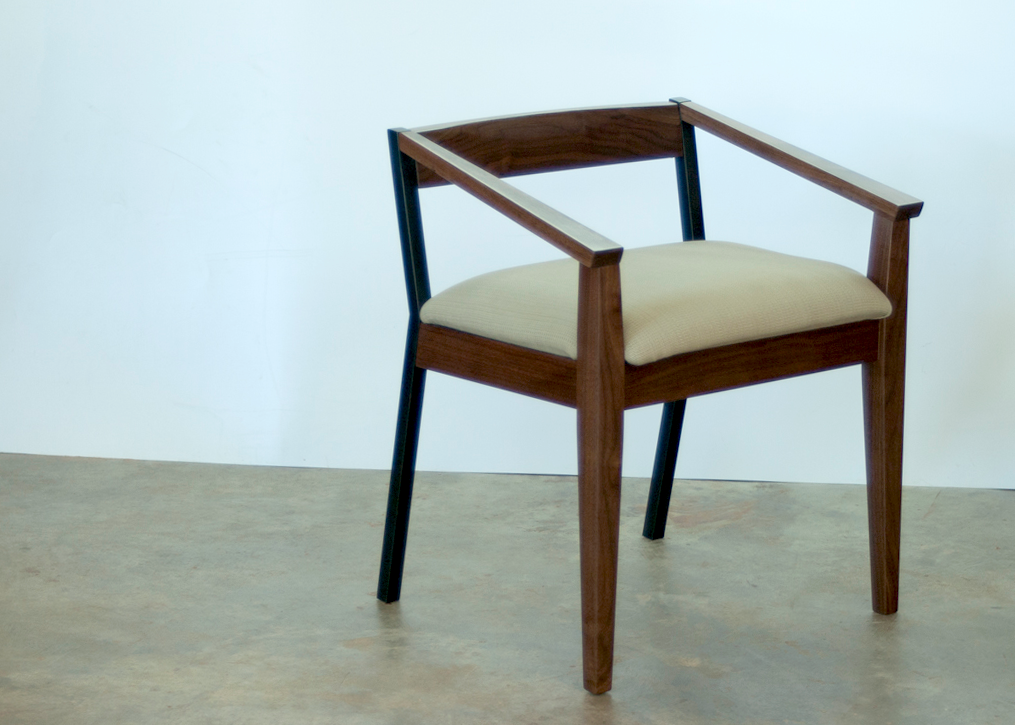 Blackwood arm chair, walnut and steel