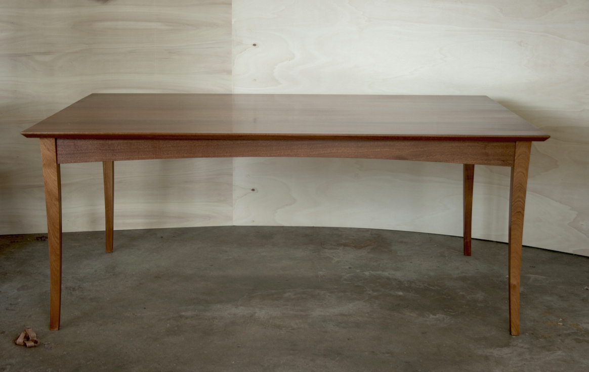 Lystra dining table, shown in sepele