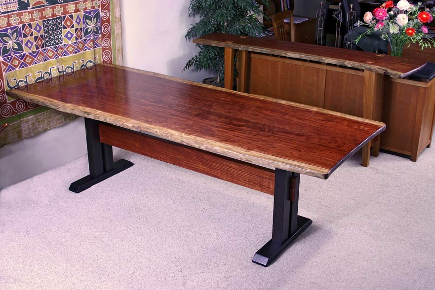 Custom dining table, mixed woods