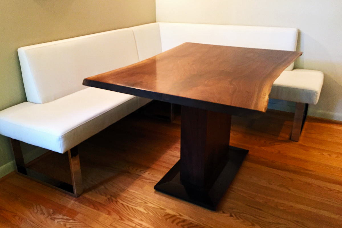 Custom dining table, bookmatched walnut